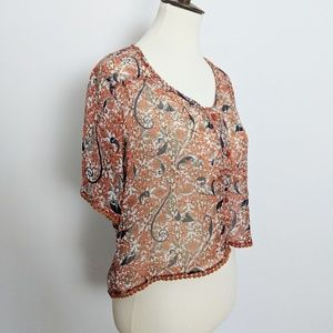 Band of Gypsies Cropped Floral Sheet Blouse Lace